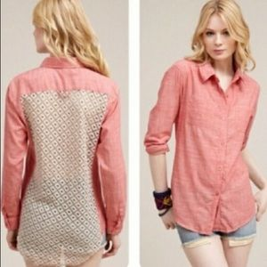 Free People Pink Chambray Crochet Back Top - M